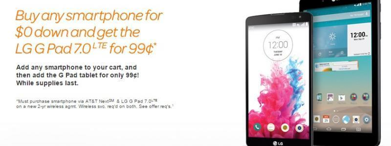 Purchase A New Smartphone At AT&T And Get The G Pad 7.0 LTE For Only $0.99